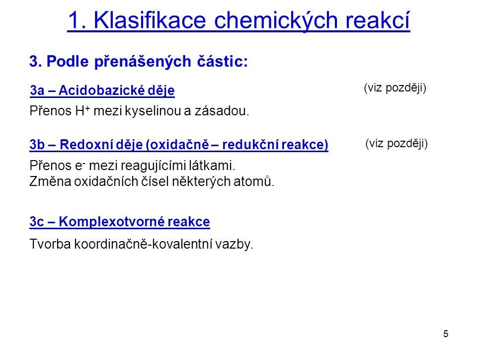 1. Klasifikace chemických reakcí