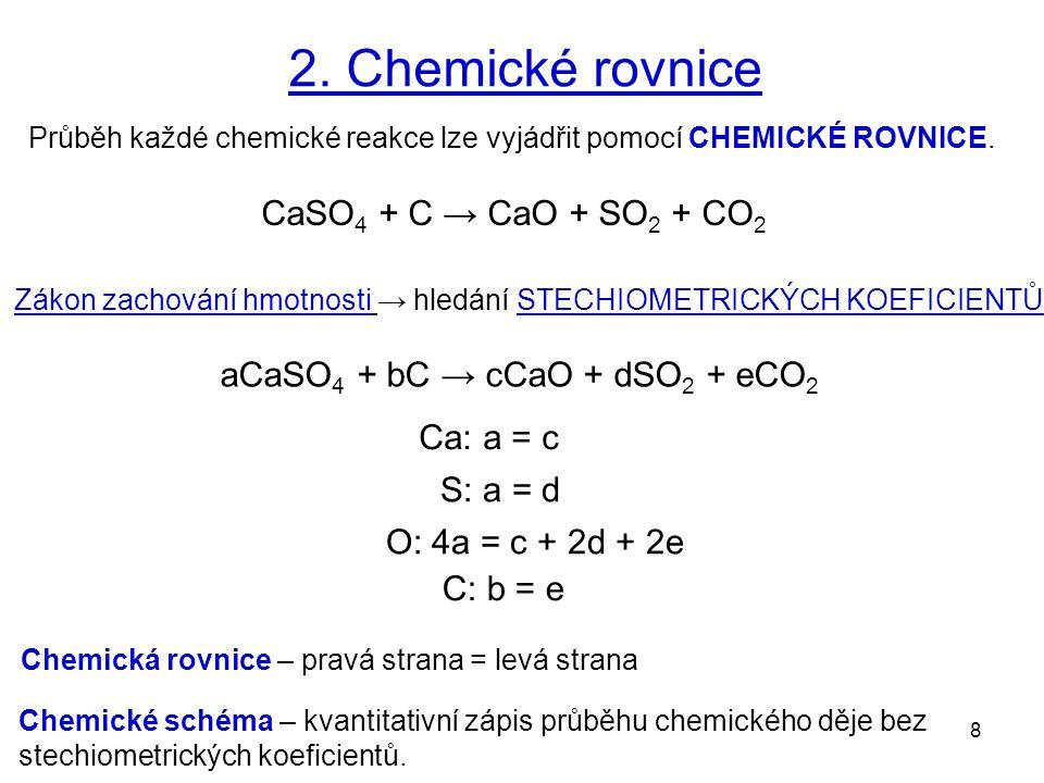 2. Chemické rovnice CaSO4 + C → CaO + SO2 + CO2