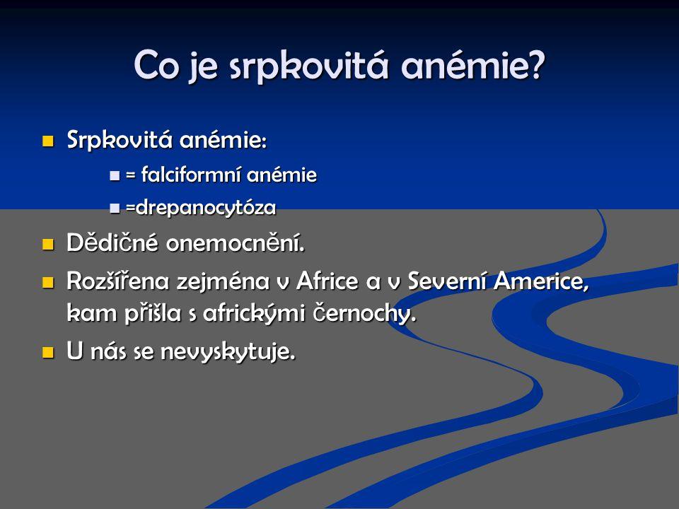 Co je srpkovitá anémie Srpkovitá anémie: Dědičné onemocnění.