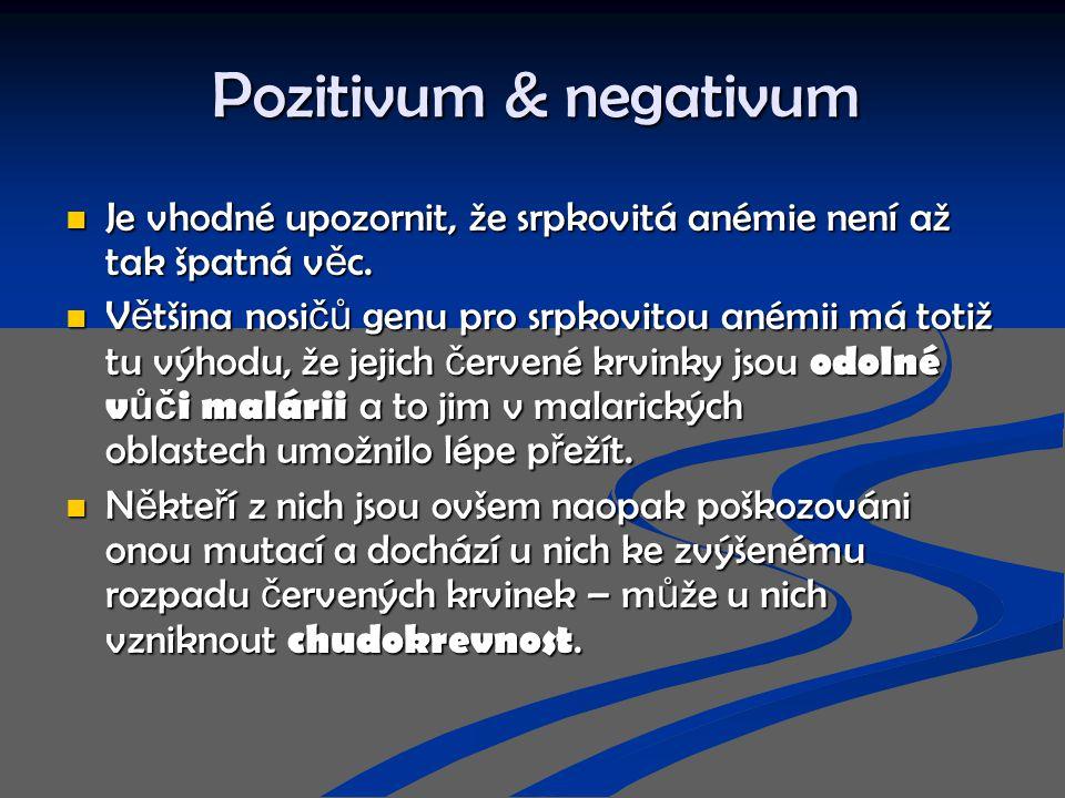 Pozitivum & negativum Je vhodné upozornit, že srpkovitá anémie není až tak špatná věc.