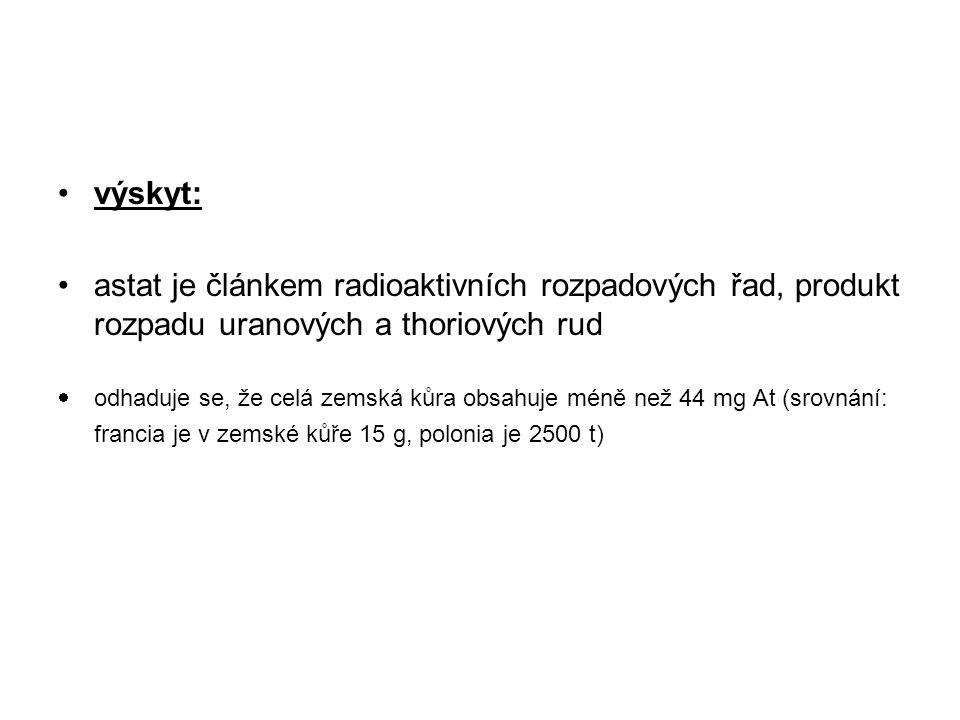 výskyt: astat je článkem radioaktivních rozpadových řad, produkt rozpadu uranových a thoriových rud.