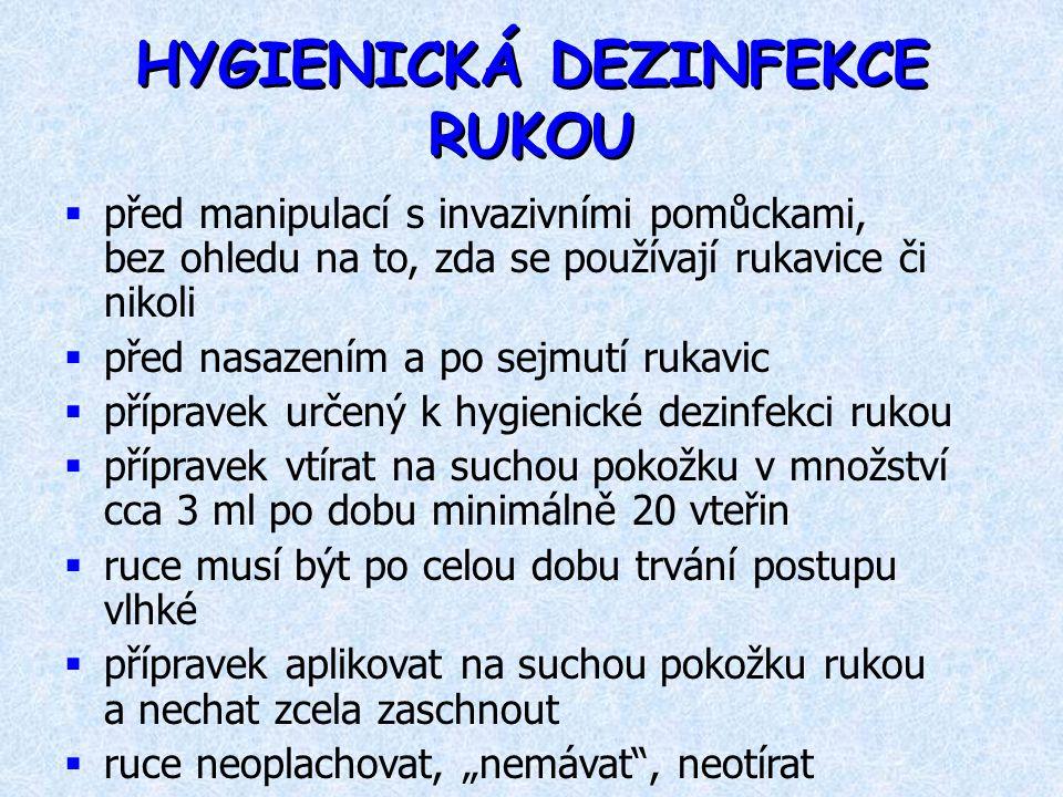 HYGIENICKÁ DEZINFEKCE RUKOU