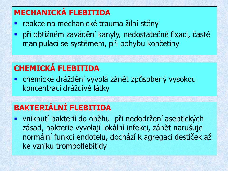 MECHANICKÁ FLEBITIDA reakce na mechanické trauma žilní stěny.