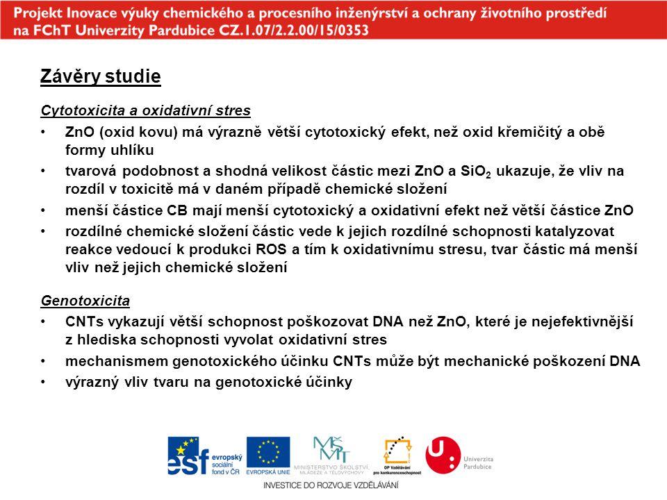 Závěry studie Cytotoxicita a oxidativní stres