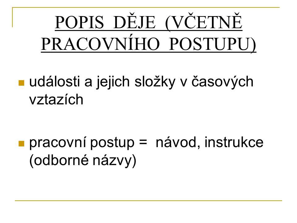 POPIS DĚJE (VČETNĚ PRACOVNÍHO POSTUPU)