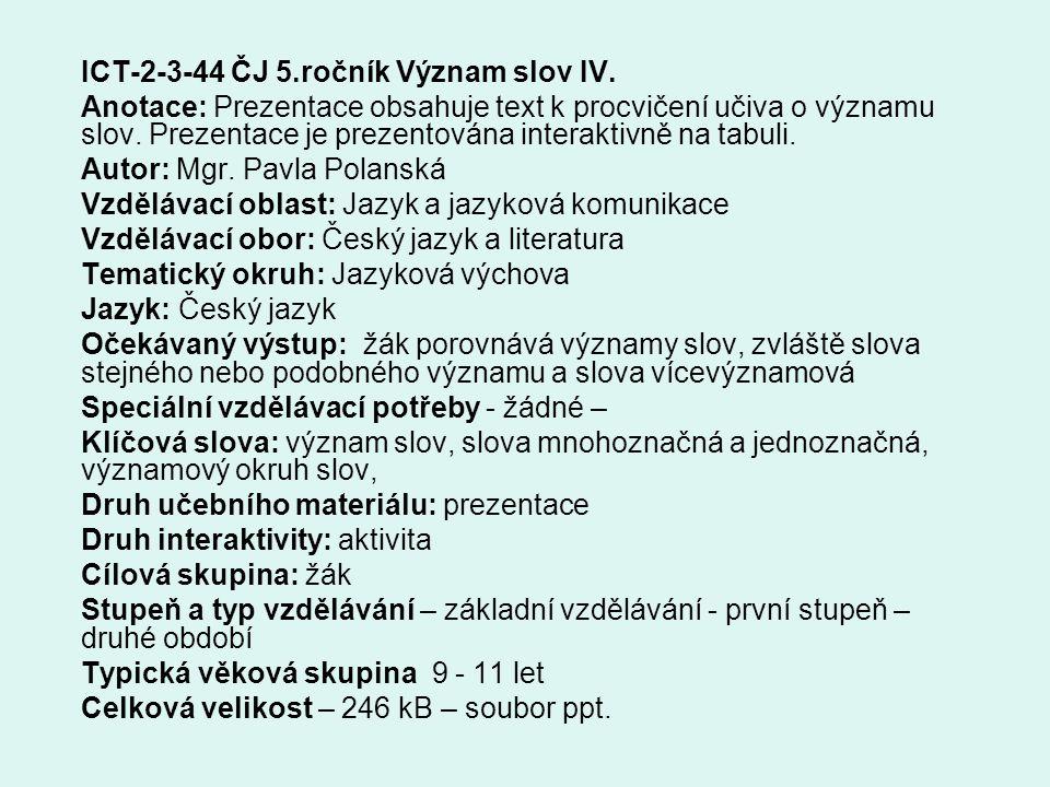 ICT-2-3-44 ČJ 5.ročník Význam slov IV.
