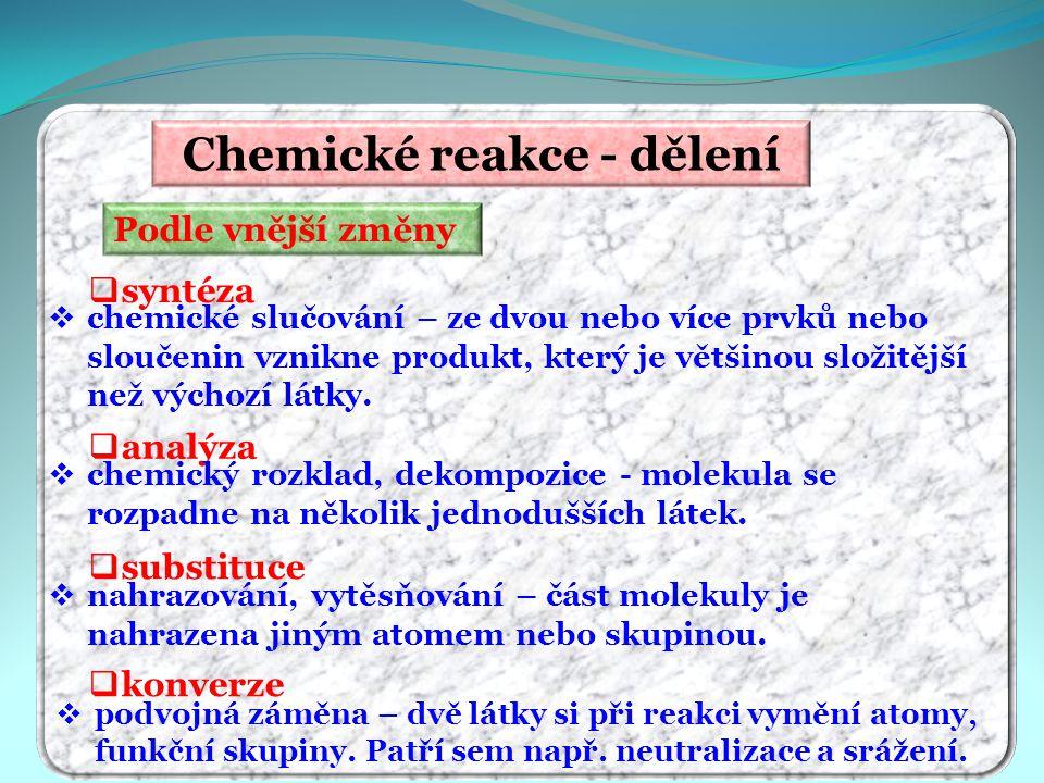 Chemické reakce - dělení