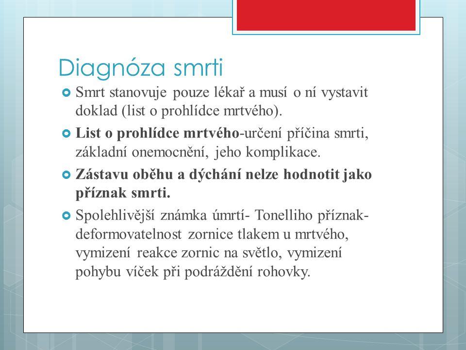 Diagnóza smrti Smrt stanovuje pouze lékař a musí o ní vystavit doklad (list o prohlídce mrtvého).