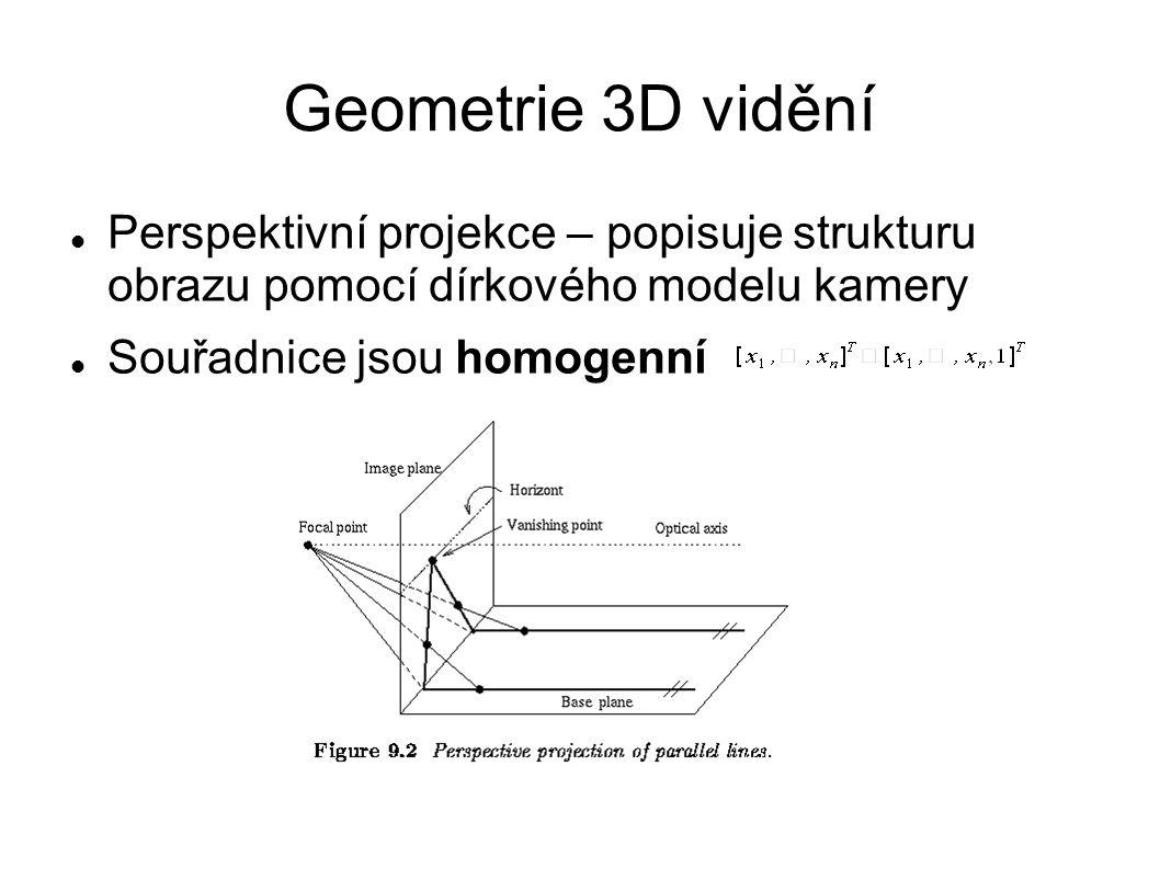 Geometrie 3D vidění Perspektivní projekce – popisuje strukturu obrazu pomocí dírkového modelu kamery.