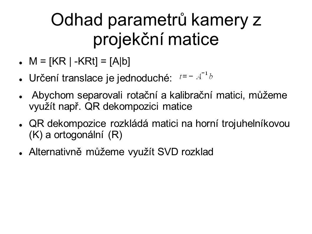 Odhad parametrů kamery z projekční matice