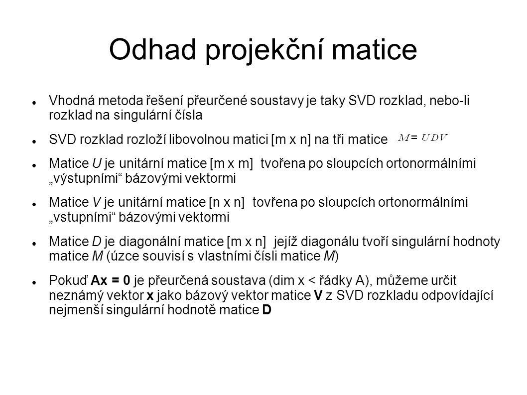 Odhad projekční matice