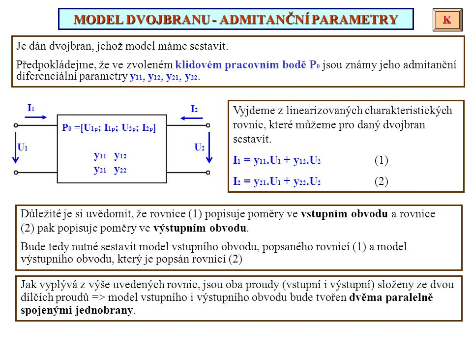 MODEL DVOJBRANU - ADMITANČNÍ PARAMETRY