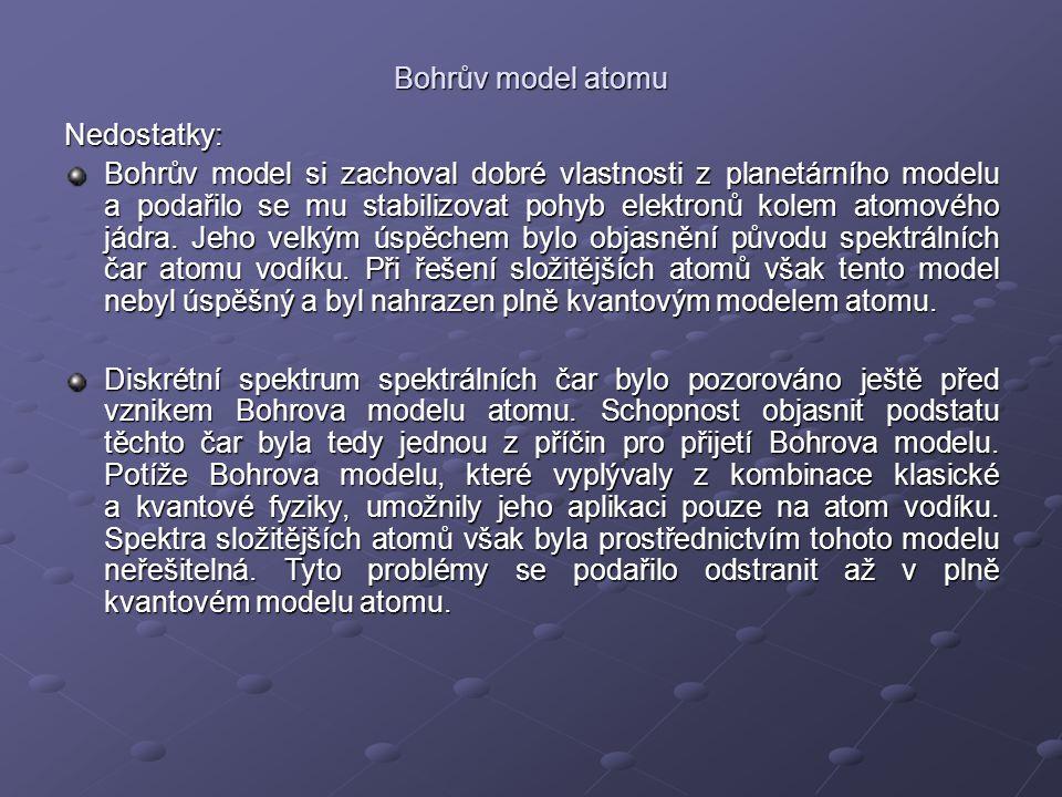 Bohrův model atomu Nedostatky: