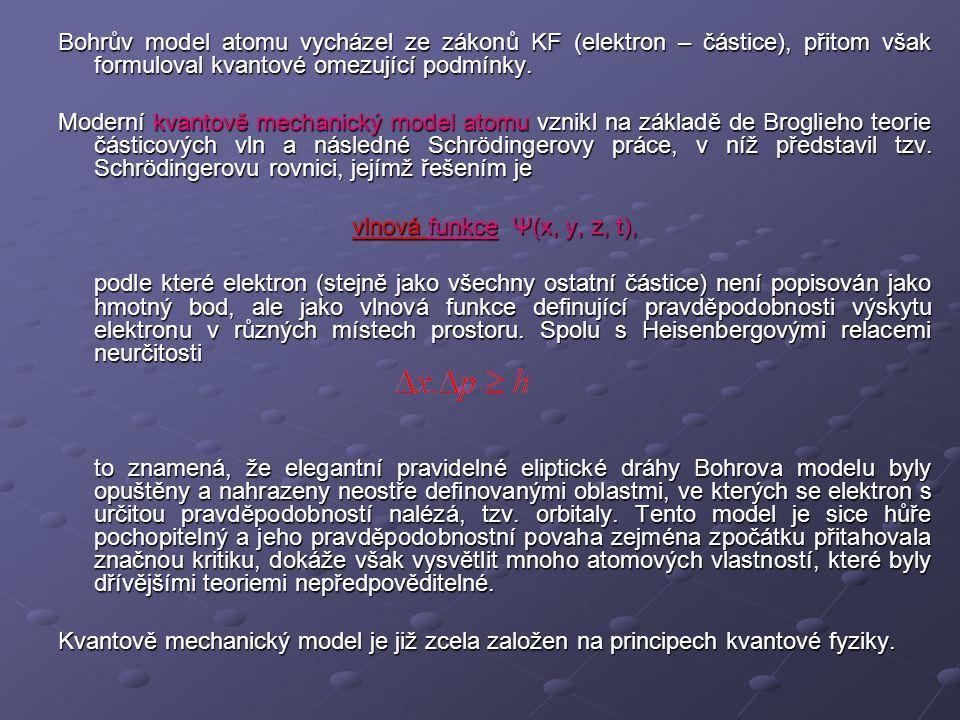 Bohrův model atomu vycházel ze zákonů KF (elektron – částice), přitom však formuloval kvantové omezující podmínky.