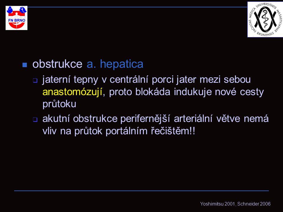 obstrukce a. hepatica jaterní tepny v centrální porci jater mezi sebou anastomózují, proto blokáda indukuje nové cesty průtoku.