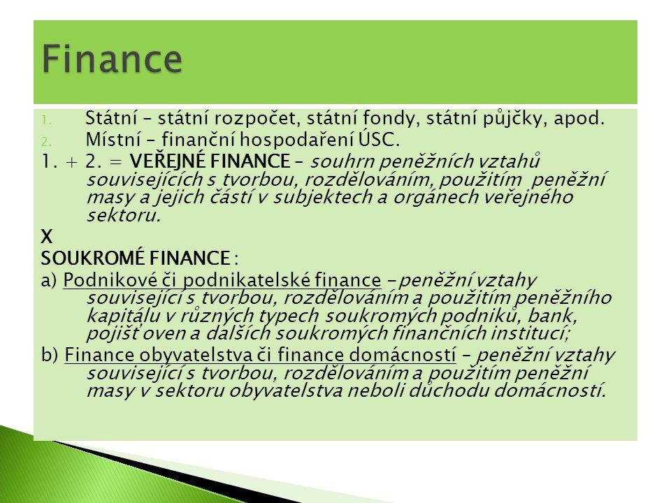 Finance Státní – státní rozpočet, státní fondy, státní půjčky, apod.