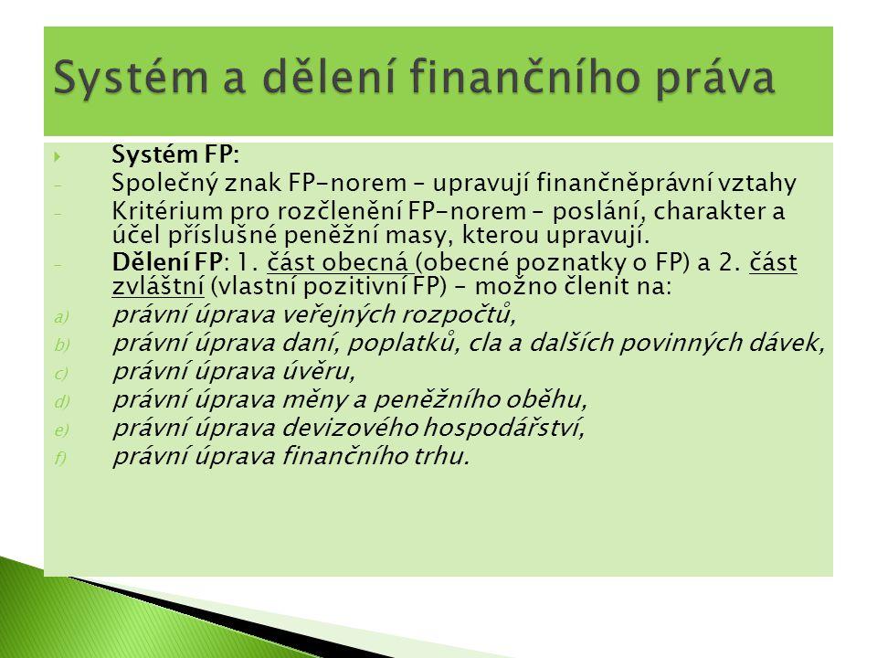 Systém a dělení finančního práva