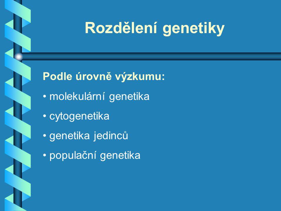 Rozdělení genetiky Podle úrovně výzkumu: molekulární genetika