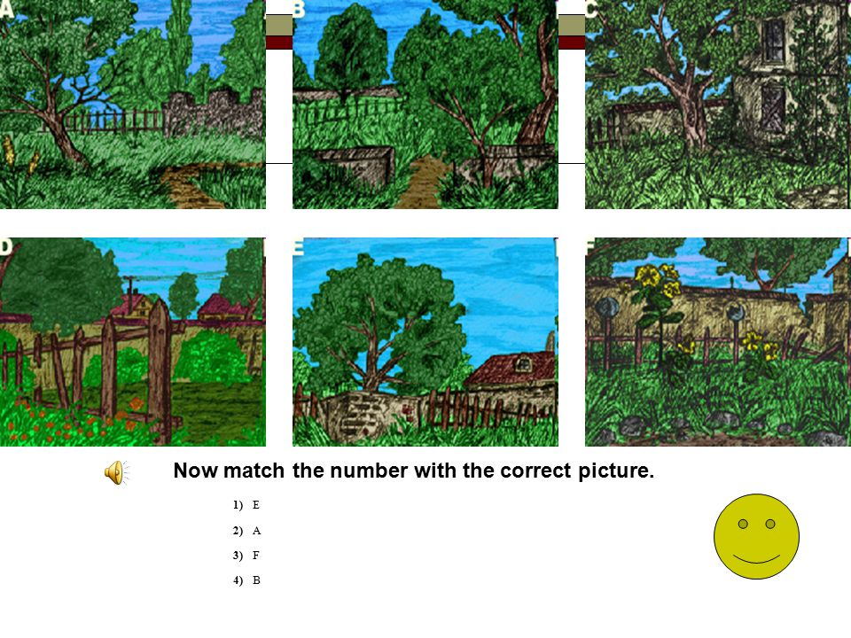 Now match the number with the correct picture.
