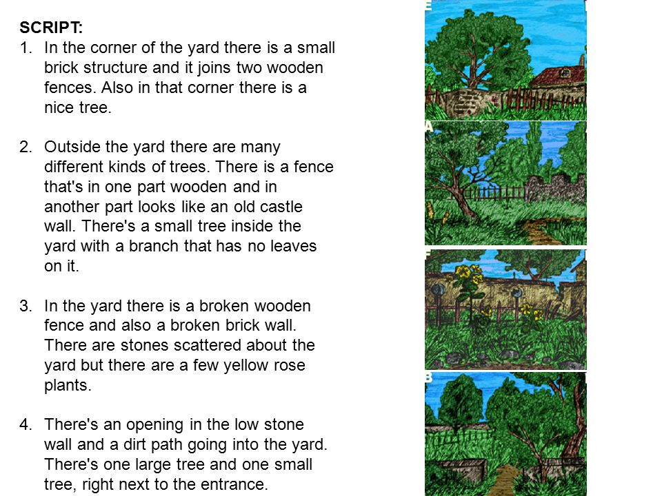SCRIPT: In the corner of the yard there is a small brick structure and it joins two wooden fences. Also in that corner there is a nice tree.