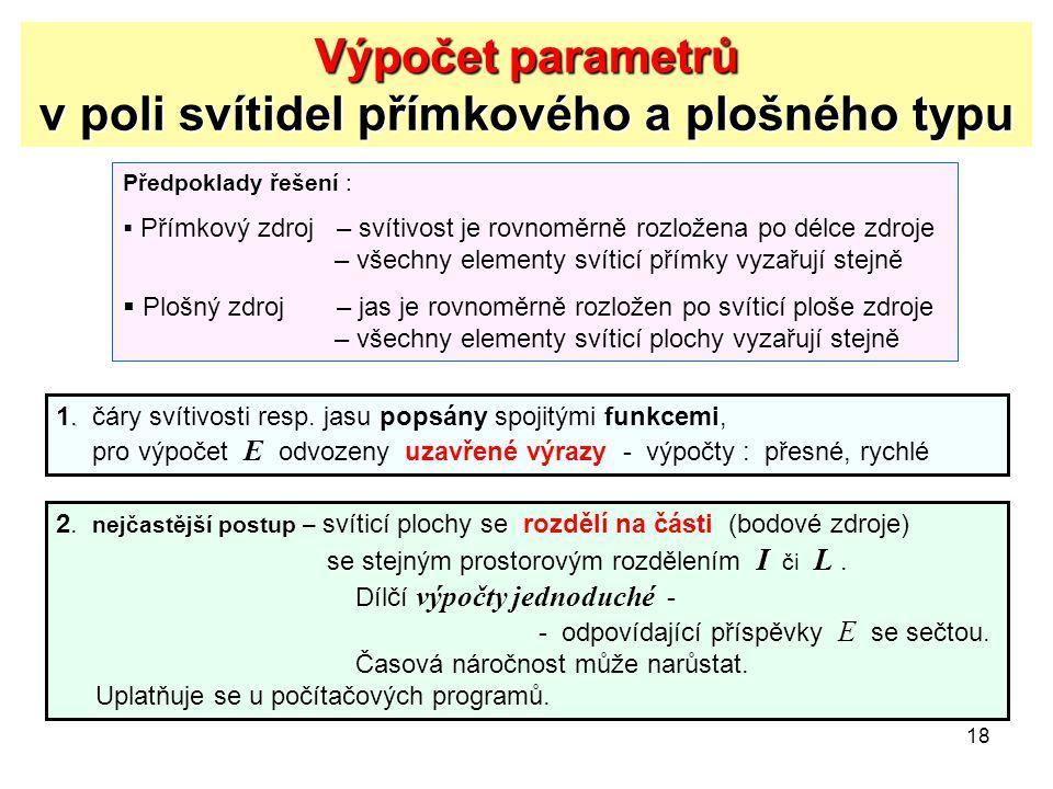 Výpočet parametrů v poli svítidel přímkového a plošného typu