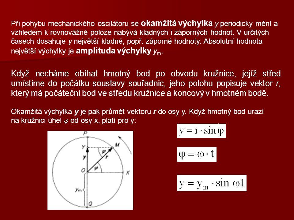 Při pohybu mechanického oscilátoru se okamžitá výchylka y periodicky mění a vzhledem k rovnovážné poloze nabývá kladných i záporných hodnot. V určitých časech dosahuje y největší kladné, popř. záporné hodnoty. Absolutní hodnota největší výchylky je amplituda výchylky ym.