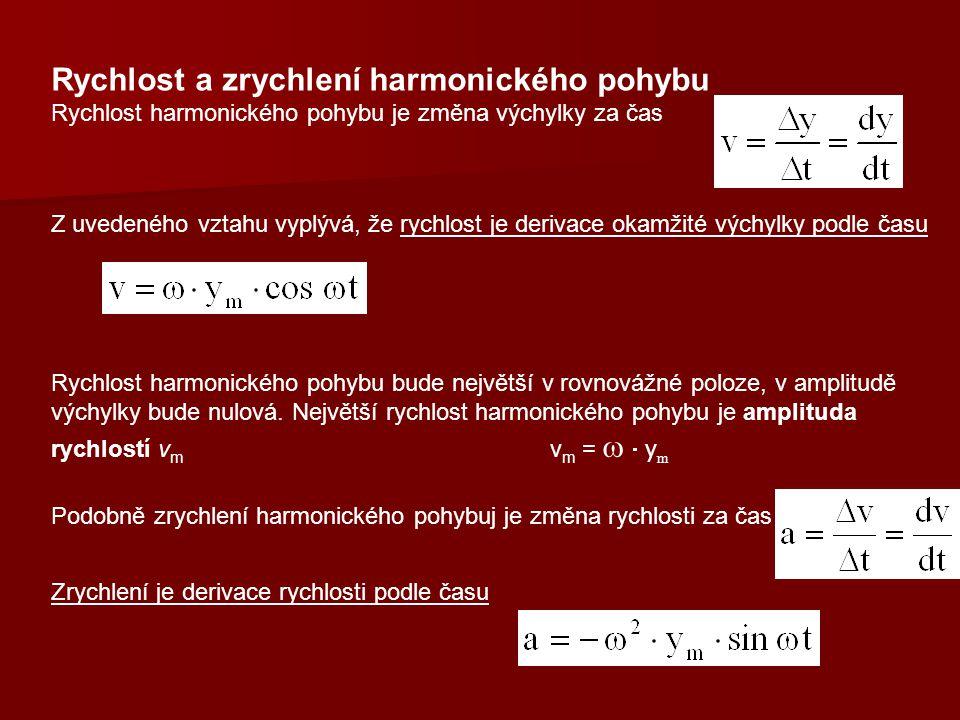 Rychlost a zrychlení harmonického pohybu