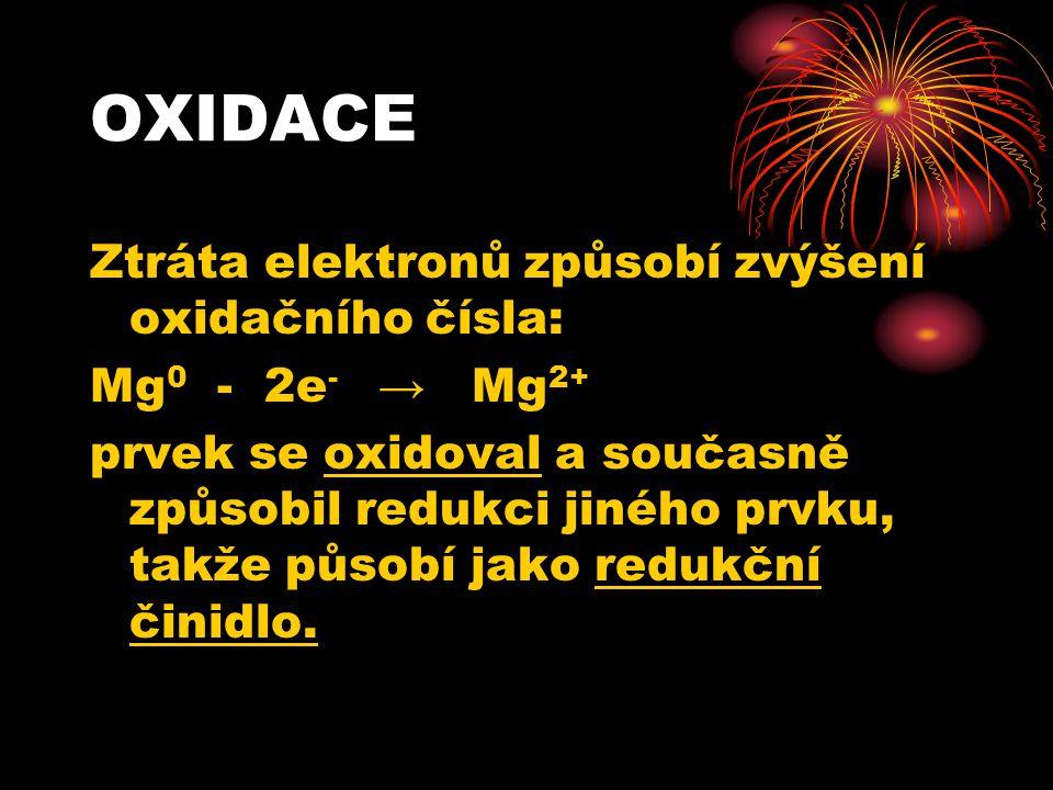 OXIDACE Ztráta elektronů způsobí zvýšení oxidačního čísla: