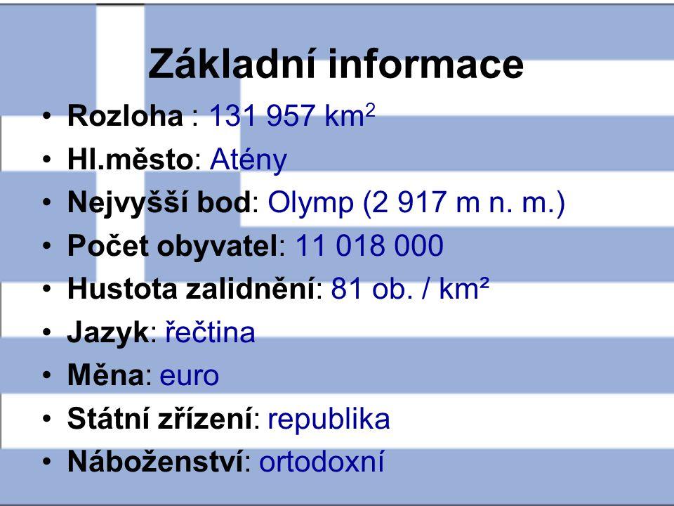 Základní informace Rozloha : 131 957 km2 Hl.město: Atény