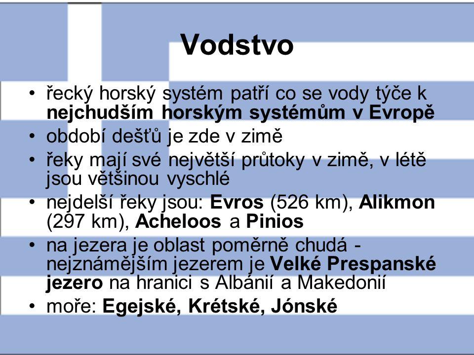 Vodstvo řecký horský systém patří co se vody týče k nejchudším horským systémům v Evropě. období dešťů je zde v zimě.