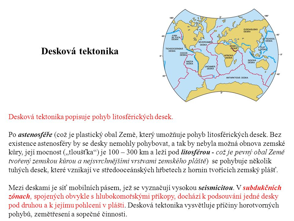 Desková tektonika Desková tektonika popisuje pohyb litosférických desek.