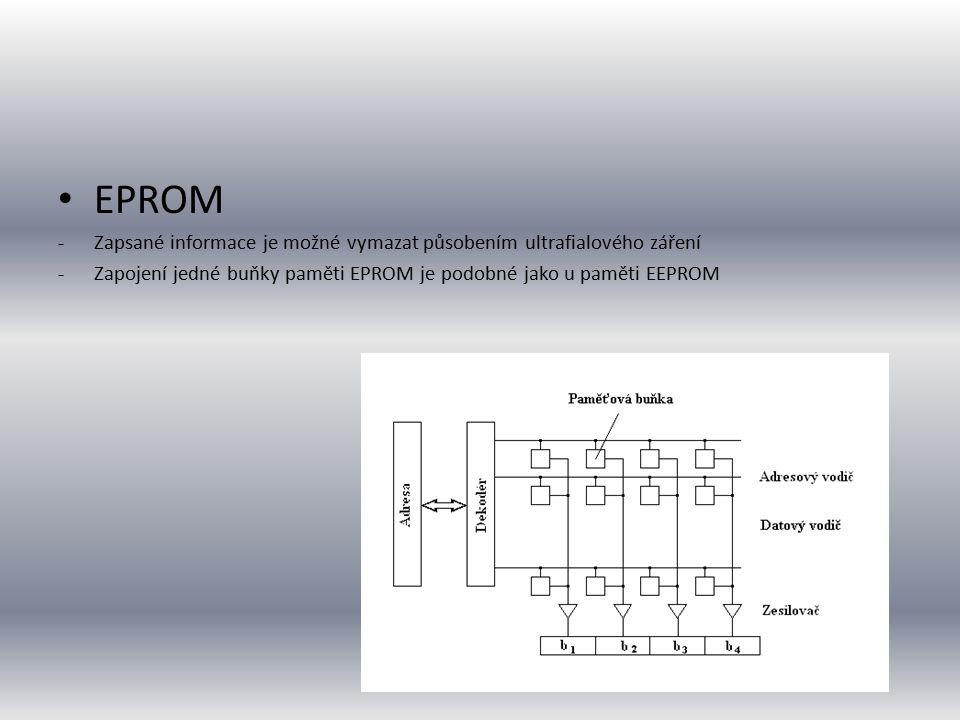 EPROM Zapsané informace je možné vymazat působením ultrafialového záření.