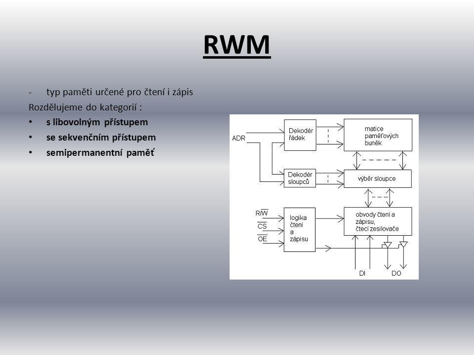 RWM typ paměti určené pro čtení i zápis Rozdělujeme do kategorií :