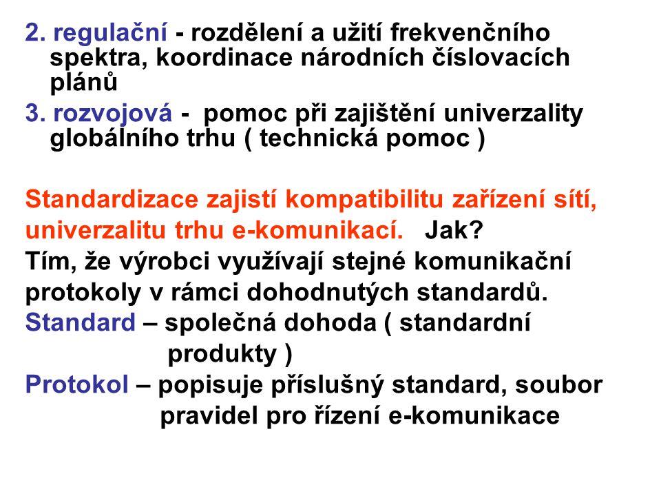 2. regulační - rozdělení a užití frekvenčního spektra, koordinace národních číslovacích plánů