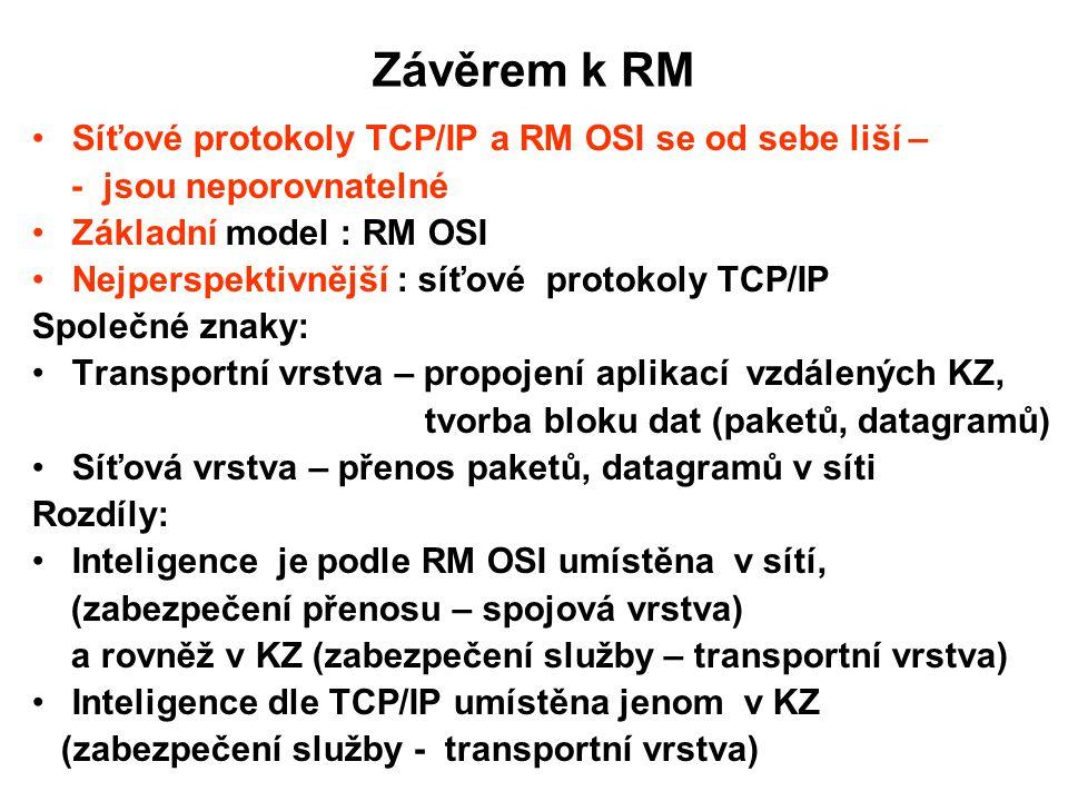 Závěrem k RM Síťové protokoly TCP/IP a RM OSI se od sebe liší –