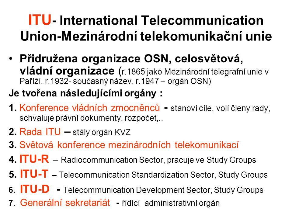 ITU- International Telecommunication Union-Mezinárodní telekomunikační unie