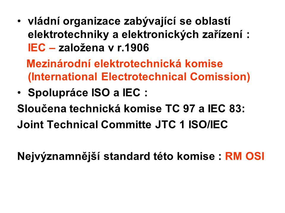 vládní organizace zabývající se oblastí elektrotechniky a elektronických zařízení : IEC – založena v r.1906