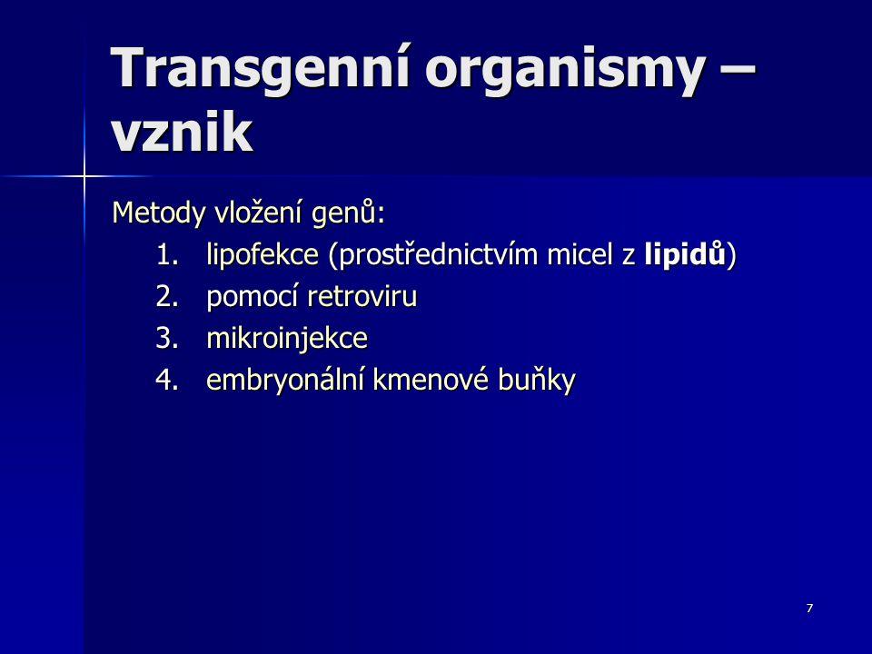 Transgenní organismy – vznik