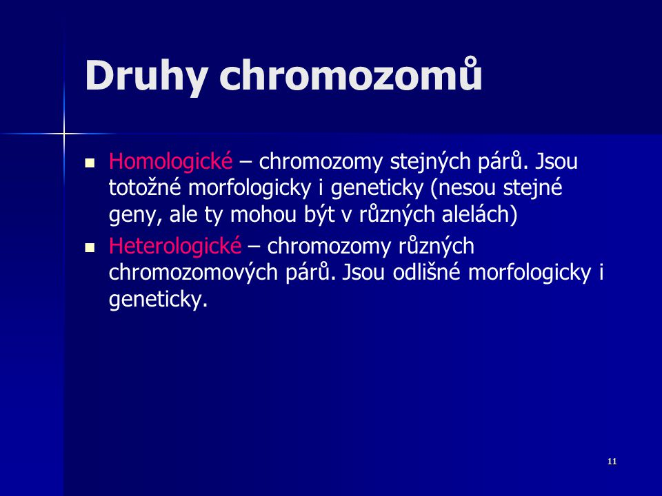 Druhy chromozomů