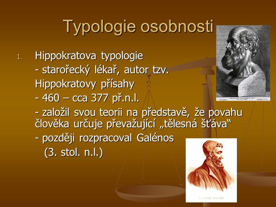 Typologie osobnosti Hippokratova typologie