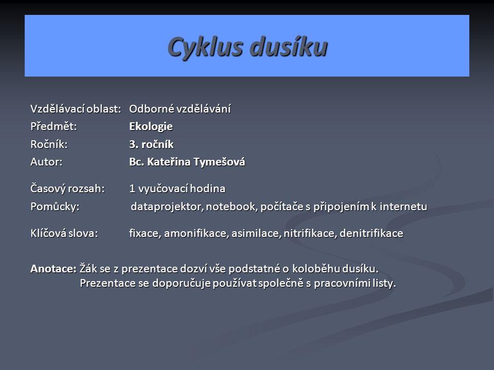 Cyklus dusíku Vzdělávací oblast: Odborné vzdělávání Předmět: Ekologie