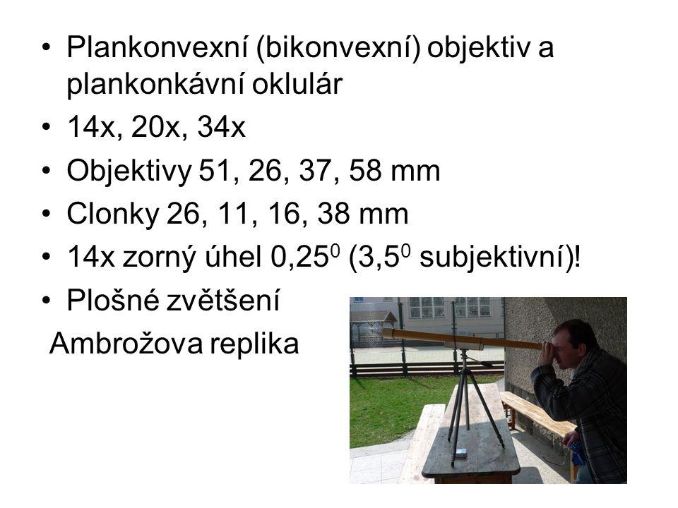 Plankonvexní (bikonvexní) objektiv a plankonkávní oklulár