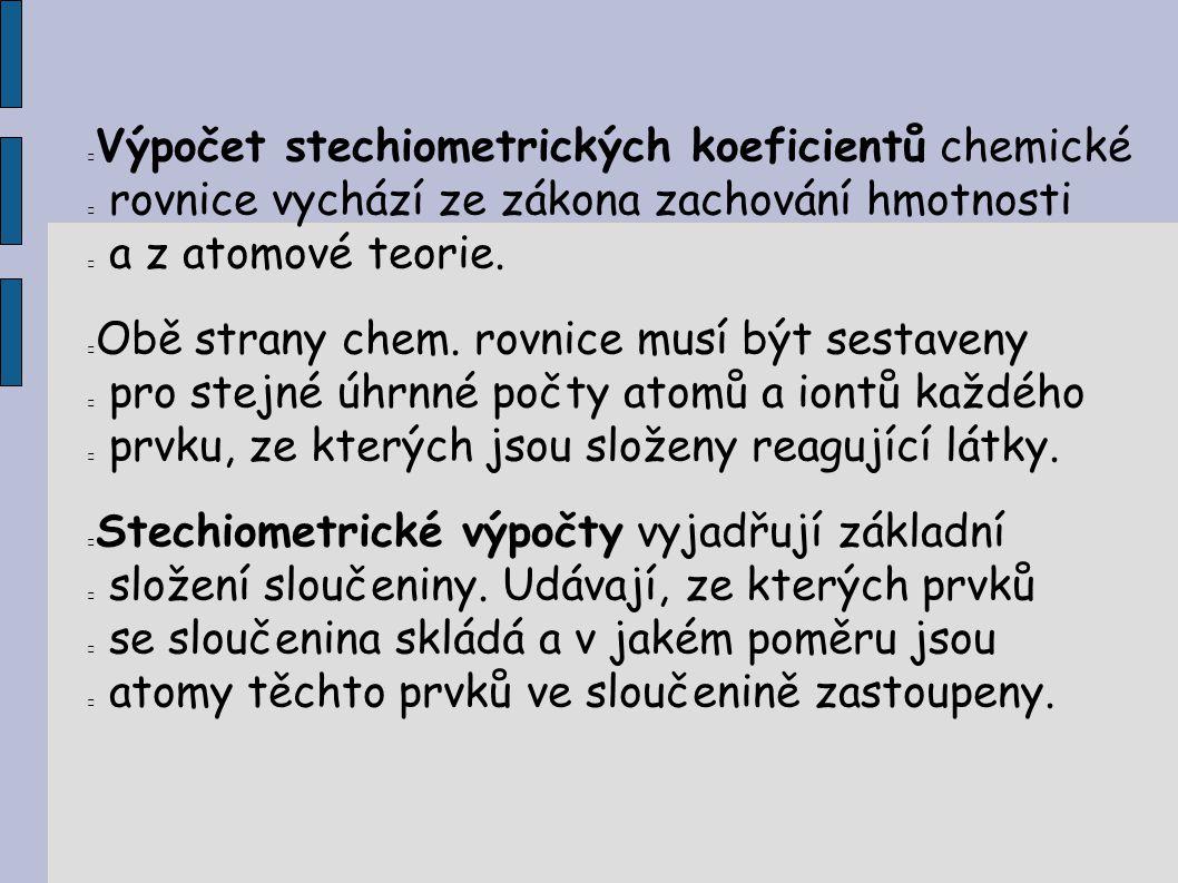 Výpočet stechiometrických koeficientů chemické