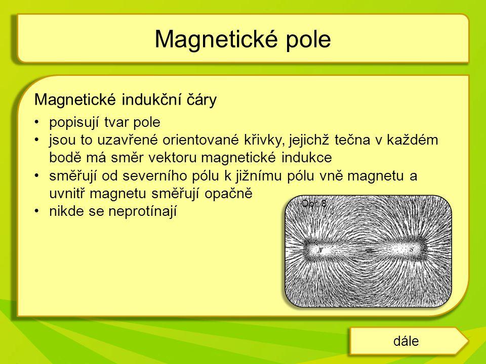 Magnetické pole Magnetické indukční čáry popisují tvar pole