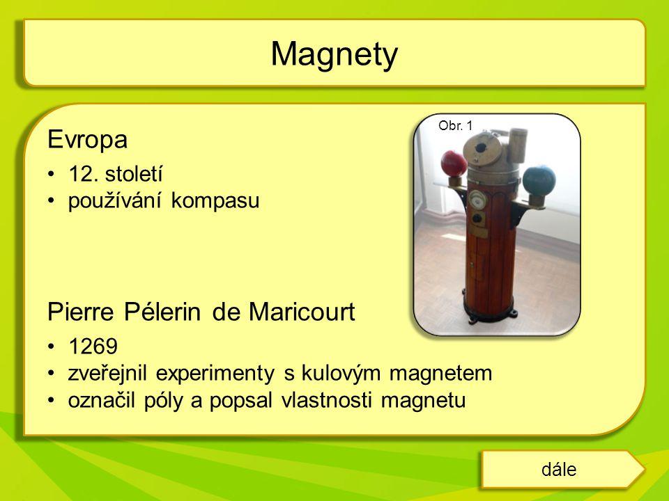 Magnety Evropa Pierre Pélerin de Maricourt 12. století
