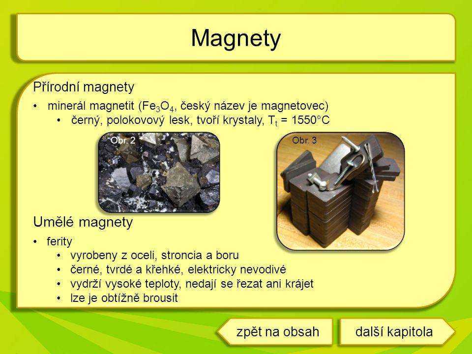 Magnety Umělé magnety Přírodní magnety zpět na obsah další kapitola