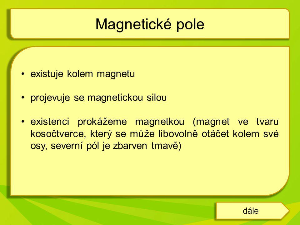 Magnetické pole existuje kolem magnetu projevuje se magnetickou silou
