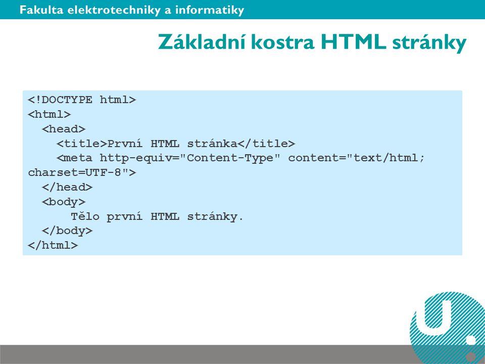 Základní kostra HTML stránky