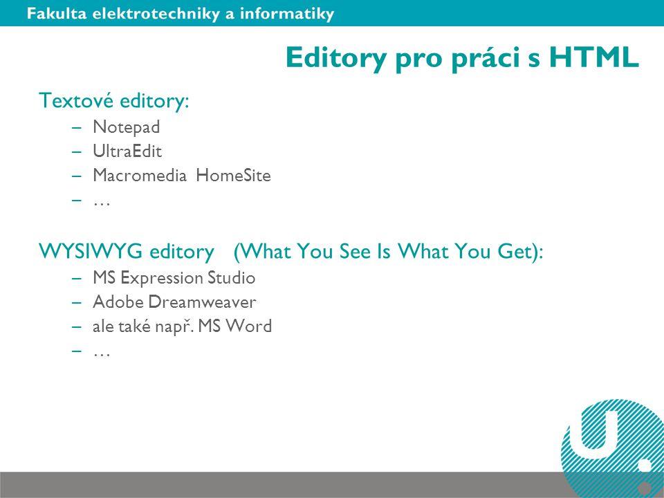 Editory pro práci s HTML