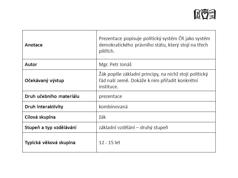 Anotace Prezentace popisuje politický systém ČR jako systém demokratického právního státu, který stojí na třech pilířích.